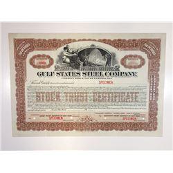 Gulf States Steel Co., 1910-1920 Specimen Stock Certificate