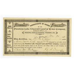 Pasadena Lake, Vineyard Land and Water Co. 1908 Stock Certificate.