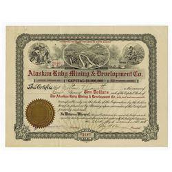 Alaskan Ruby Mining & Development Co. 1905 Stock Certificate.