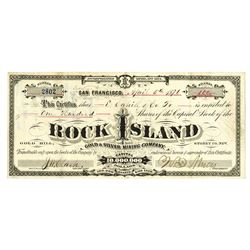 Rock Island Gold & Silver Mining Co., 1871 Stock Certificate.