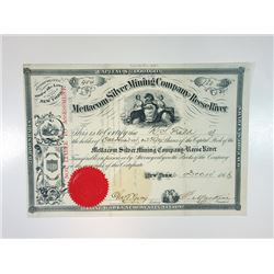 Mettacom Silver Mining Co. of Reese River, 1866 Issued Stock Certificate