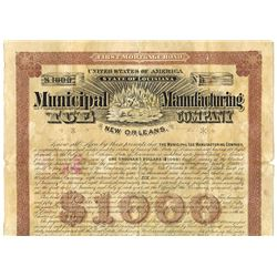 Municipal Ice Manufacturing Company, 1892 Issued Bond.