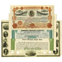 Group of 4 Bond and Stock Certificates, Mining & Railroad, ca.1850-1900