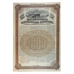 International Navigation Co., 1895 Specimen Bond, Predecessor Company to International Mercantile Ma