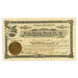 Leavitt Lusitania Salvage Co., Inc. 1922 Issue Stock Certificate.