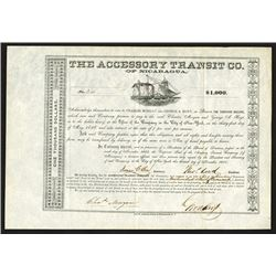 Accessory Transit Co. (of Nicaragua), 1855 Issued Historic Bond from Cornelius Vanderbilt's Company.