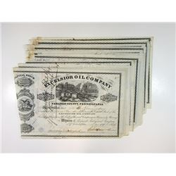 Excelsior Oil Co. Group of Stocks, 1864 Group of Issued Stock Certificates