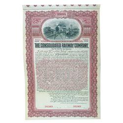 Consolidated Railway Co. 1904 Specimen Bond.