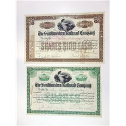 Southwestern Railroad Co., 1897-1903 Pair of Cancelled Stock Certificates