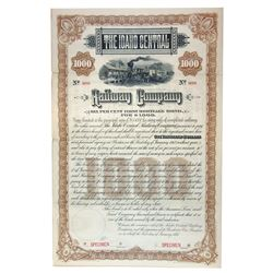 Idaho Central Railway Co., 1887 Specimen Bond