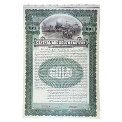 Central and South Eastern Railroad Co., 1906 Specimen Gold Coupon Bond.