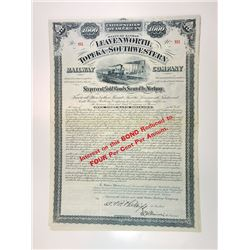 Leavenworth, Topeka and Southwestern Railway Co., 1882 I/U Gold Bond.
