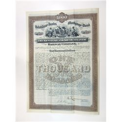 Kentucky and South Atlantic Railway Co., 1882 issued Coupon Bond.
