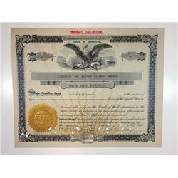Lexington and Eastern Railway Co., 1915 I/C Typewritten Stock Certificate