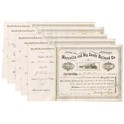 Maysville and Big Sandy Railroad Co., 1889-1900 Group of Cancelled Stock Certificates