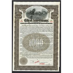 City of New Orleans, Public Belt Railroad Bond. 1909. Specimen Bond.