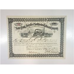 Saint Louis, Avoyelles & Southwestern Railroad Co., 1897 Issued Stock Certificate