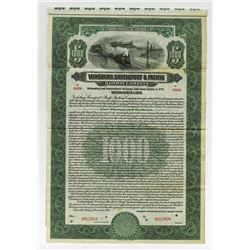 Vicksburg, Shreveport & Pacific Railway Co., 1923, $1000 Specimen Bond.