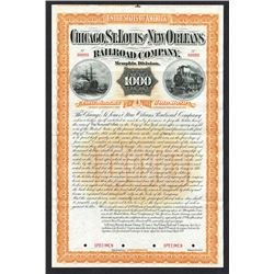 Chicago, St.Louis and New Orleans Railroad Co., Memphis Division 1889 Specimen Bond.