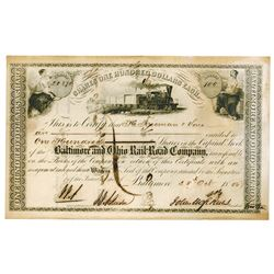 Baltimore & Ohio Rail Road Co., 1856 Stock Certificate Signed by John Hopkins.
