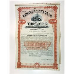 Western Maryland Tidewater Railroad Co., 1891 Specimen Gold Coupon Bond.