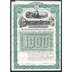 Grafton and Upton Railroad Co. Specimen Bond.