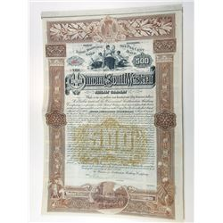 Winona and Southwestern Railway Co., 1888 Issued Gold Coupon Bond.