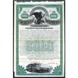 Alabama and Vicksburg Railway Co., 1889 Specimen Bond.