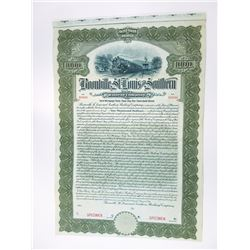 Boonville, St. Louis and Southern Railway Co., 1911 Specimen Bond