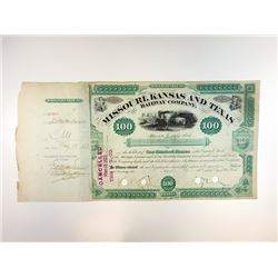 Missouri, Kansas & Texas Railway Co., 1887  Stock Certificate Signed by Jay Gould, Robber Baron