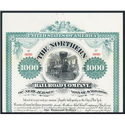 Northern Railroad Co. of New Jersey Specimen Bond.