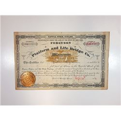 Platform and Life Bridge Co., 1884 Issued Stock Certificate