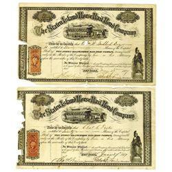 Staten Island Horse Railroad Co., 1867 Lot of 2 Slightly Damaged Stock Certificates.