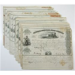 Central Ohio Rail Road Co., ca.1866-1872 Group of Cancelled Stock Certificates