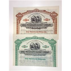 Ohio and Mississippi Railway Co., 1887-1891 Pair of Cancelled Bonds