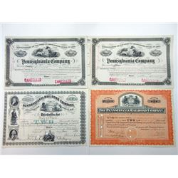 Pennsylvania Co. & Pennsylvania Rail Road Co. Quartet of I/C Stock Certificates, 1880-1929