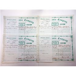 Pennsylvania Company 1873 Quintet of I/C Stock Certificates signed by Thomas Scott as President.