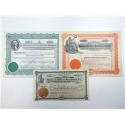 Trio of Issued and Cancelled Stock Certificates 1901-1930