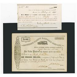 Southern Pacific Railroad Co., Pair of Certificate ca. 1866-1877