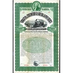 Virginia, Fredericksburg & Western Railroad Co., 1895 Specimen Bond.