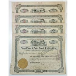 Piney River & Paint Creek Railroad Co., 1917 Group of Cancelled Stock Certificates