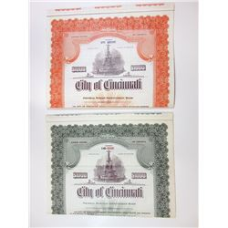 City of Cincinnati Pair of Specimen Bonds, 1949-1951