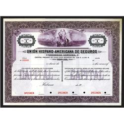 Union Hispano-Americano de Seguros Specimen Capital Share Certificate.