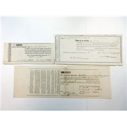 Trio of Turnpike Related Stock Certificates 1814-1876