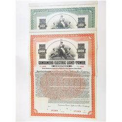 Consumers Electric Light and Power Co., 1911 Pair of Specimen Bonds