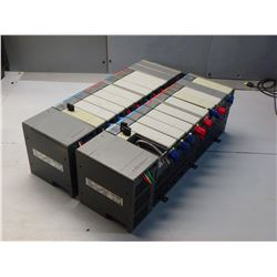 ALLEN BRADLEY (2) 1746-A10 10 SLOT RACKS WITH MISC MODULES - SEE PICS FOR MODULE TYPES!!