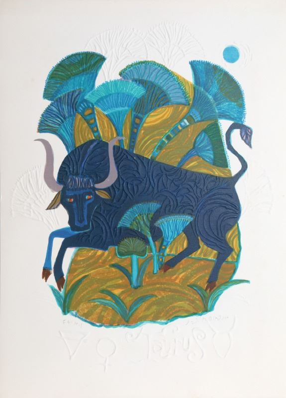 American Dream Circa 1960 >> Judith Bledsoe Taurus From The Zodiac Of Dreams Series Lithograph