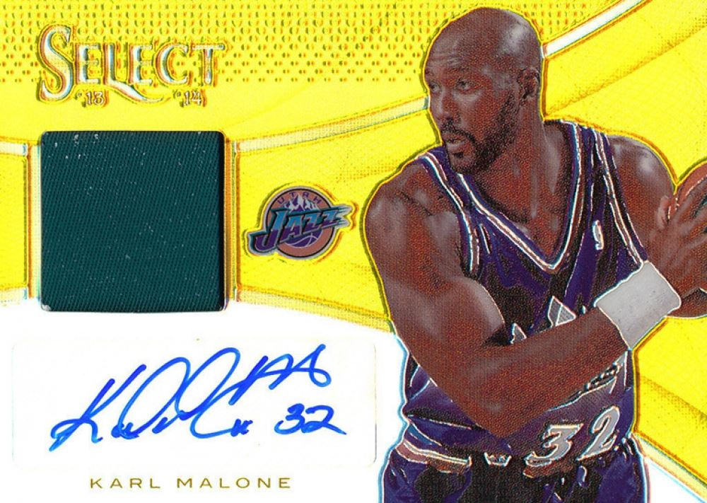 half off 784eb 38c8c 2013-14 Select Jersey Autographs Gold #31 Karl Malone #05 ...