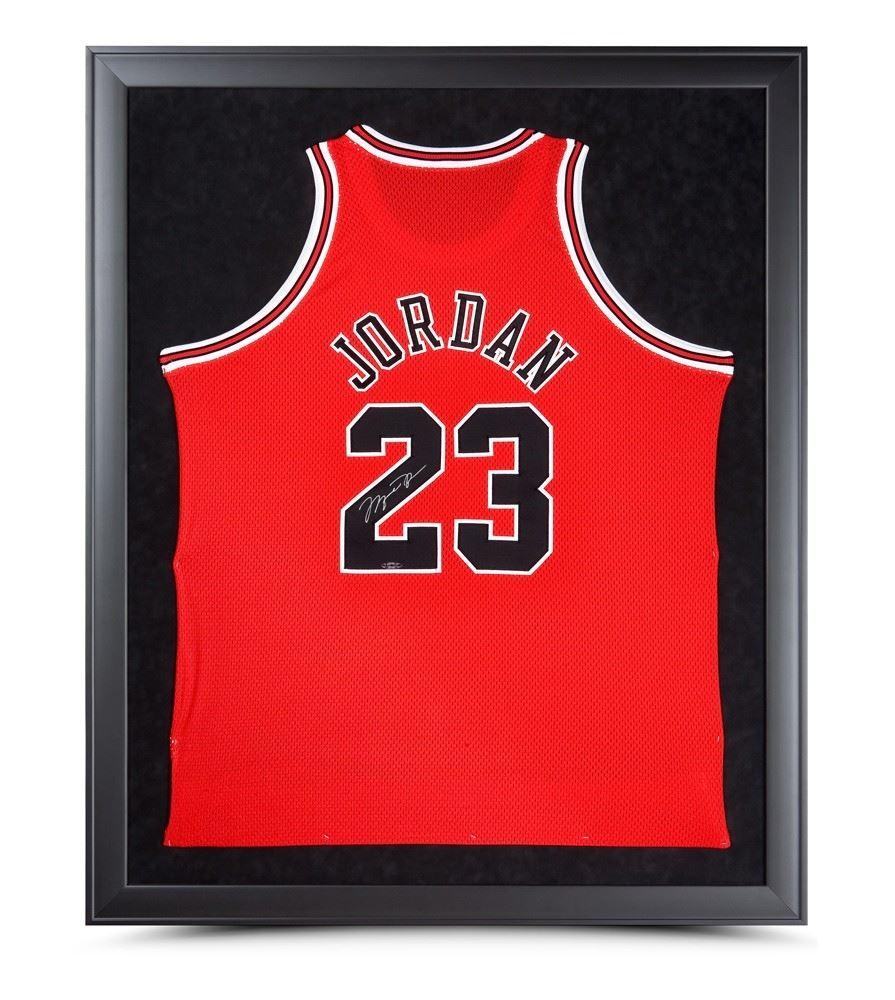 info for b0d30 5366d Michael Jordan Signed Bulls 32x42 Custom Framed Jersey ...