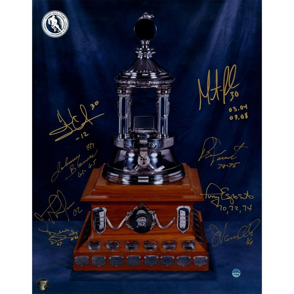 Vezina Trophy Winners 11x14 Photo Signed By 8 With Bernie Parent